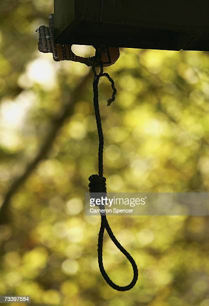 A noose is pictured after it was hung oustide Sydney Central Police station during a demonstration that began in the Rocks February 23 2007 in Sydney...