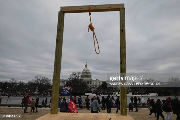 Supporters of US President Donald Trump gather on the West side of the US Capitol in Washington DC on January 6, 2021. - Demonstrators breeched...