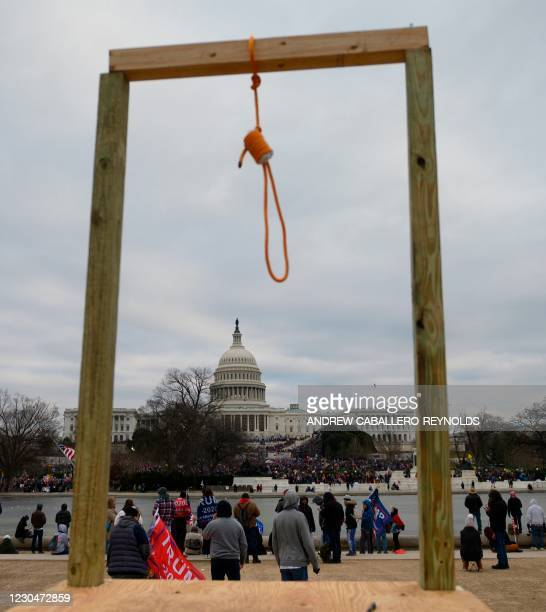 Noose is seen on makeshift gallows as supporters of US President Donald Trump gather on the West side of the US Capitol in Washington DC on January...