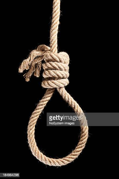 noose isolated on black - suicide stock photos and pictures