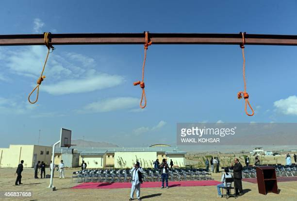 Nooses hang at PuleCharkhi prison on the outskirts of Kabul on October 8 2014 Five Afghan men were hanged on October 8 for the gang rape of four...
