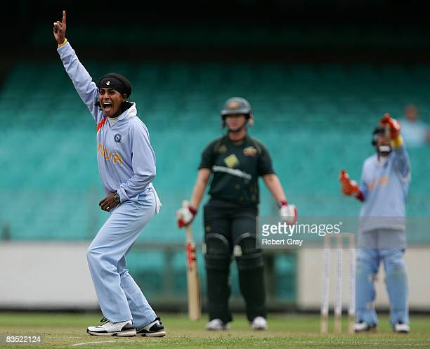 NooshhinAl Khadeer of India appeals for an LBW during the second women`s one day international match between the Australian Southern Stars and India...