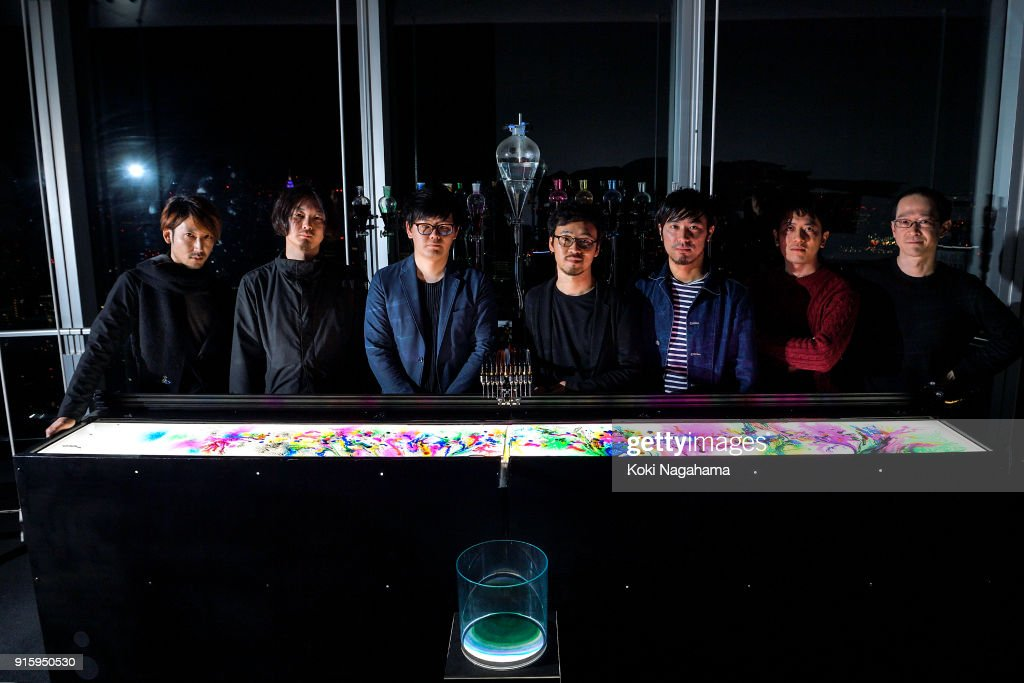 nor poses for a photograph at the Media Ambition Tokyo at Roppongi Hills on February 8, 2018 in Tokyo, Japan. An installation work that constantly creates organic patterns through digitally controlled chemical reactions of water, ink and chemical substances.