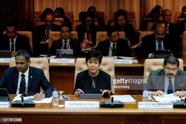 Nor Shamsiah Mohd Yunus governor of Bank Negara Malaysia center attends a news conference in Kuala Lumpur Malaysia on Friday Aug 17 2018 Nor Shamsiah...