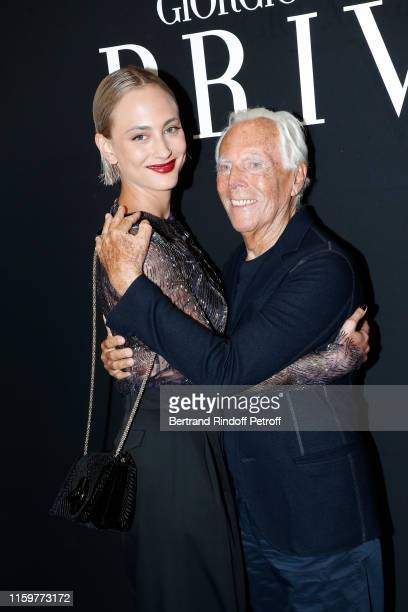 Nora Arnezeder and Georgio Armani attend the Giorgio Armani Prive Haute Couture Fall/Winter 2019 2020 show as part of Paris Fashion Week on July 02...
