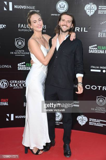 Nora Arnezeder and Guy Burnet attend the third day of Filming Italy Sardegna Festival at Forte Village Resort on July 24, 2020 in Santa Margherita di...