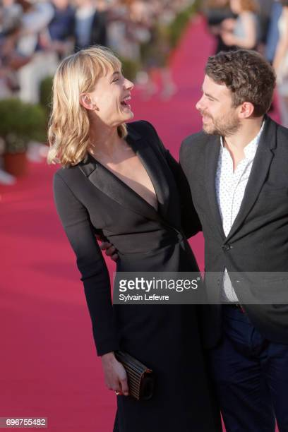 Nora Arnezeder and Stephane de Freitas attend red carpet of 3rd day of the 31st Cabourg Film Festival on June 16 2017 in Cabourg France