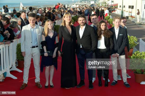 Nora Arnezeder and Stephane de Freitas pose with youth jury during red carpet of 3rd day of the 31st Cabourg Film Festival on June 16 2017 in Cabourg...