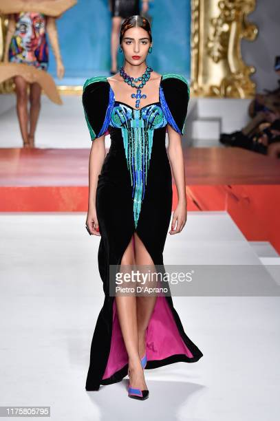 Nora Attal walks the runway at the Moschino show during the Milan Fashion Week Spring/Summer 2020 on September 19 2019 in Milan Italy