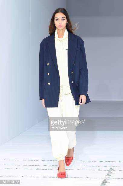 Nora Attal walks the runway during the Lacoste show as part of the Paris Fashion Week Womenswear Spring/Summer 2018 on September 27 2017 in Paris...
