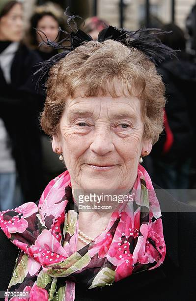 Nora Collins from St Helens in Lancashire is seen before attending the Queen's 80th Birthday Lunch on April 19, 2006 at Buckingham Palace in London,...