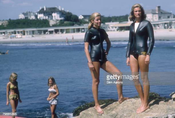 Nora Cushing and Mrs Peter Vought on the coast at Newport Rhode Island September 1965
