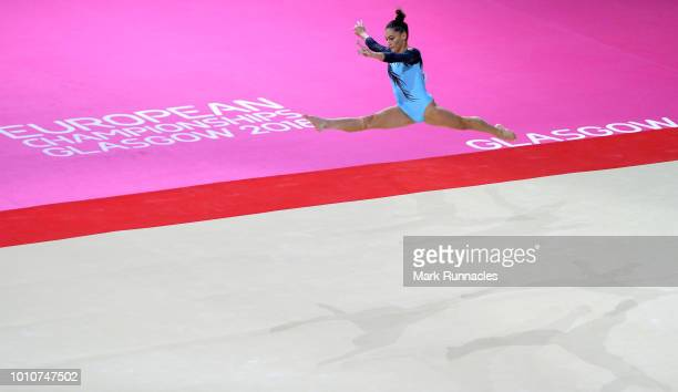 Nora Feher of Hungary competes in the Floor Exercise discipline during the Women's Gymnastics Team Final on Day three of the European Championships...