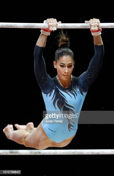 Nora Feher of Hungary competes in the Uneven Bars discipline during the Women's Gymnastics Team Final on Day three of the European Championships...
