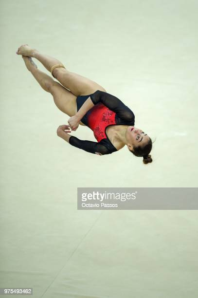 Nora Feher of Hungria competes on the floor during the Artistic Gymnastics World Challenge Cup on June 15 2018 in Guimaraes Portugal