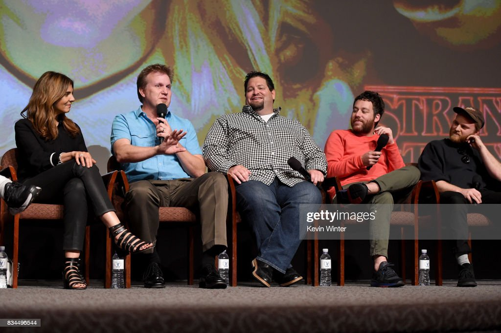 Nora Felder, Music Supervisor, Kevin Ross, Editor, Dean Zimmerman, Editor, Kyle Dixon, Composer and Michael Stein, Composer speak onstage at a reception and q&a for Netflix's 'Stranger Thing' at the Directors Guild on August 17, 2017 in Los Angeles, California.