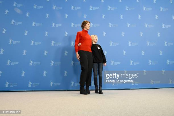 Nora Fingscheidt and Helena Zengel pose at the System Crasher photocall during the 69th Berlinale International Film Festival Berlin at Grand Hyatt...