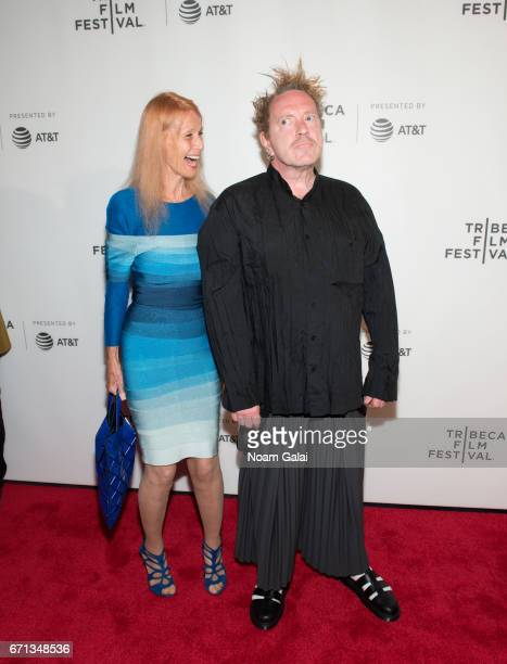 Nora Forster and John Lydon attend The Public Image is Rotten Premiere during 2017 Tribeca Film Festival at Spring Studios on April 21 2017 in New...