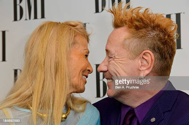 Nora Forster and John Lydon attends the BMI Awards at The Dorchester on October 15 2013 in London England