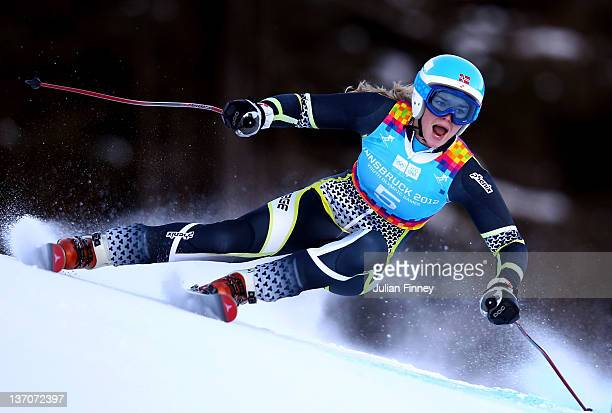 Nora Grieg Christensen of Norway skis in the Ladies Super Combined event during the Winter Youth Olympic Games on January 15 2012 in Patscherkofel...