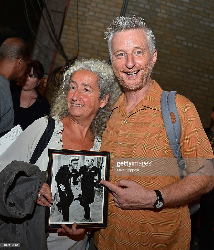 Nora Guthrie (L) and Billy Bragg pose backstage during the 'This Land Is Your Land' Woody Guthrie At 100 Concert as part of the Woody Guthrie Centennial Celebration at The Whitman Theater at Brooklyn College on September 22, 2012 in New York City.