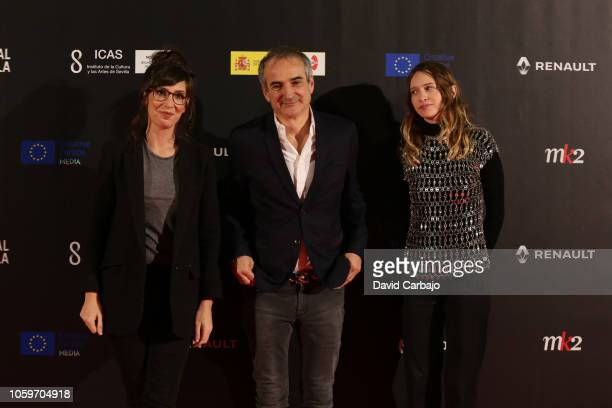 Nora Hamzawi Alex La Fuente and Anja Jones attends the inaugural gala of the 15th European Film Festival of Seville on November 9 2018 in Seville...