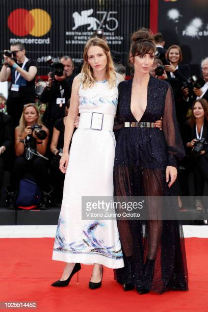 Nora Hamzawi and Christa Theret walk the red carpet ahead of the 'Doubles Vies ' screening during the 75th Venice Film Festival at Sala Grande on...