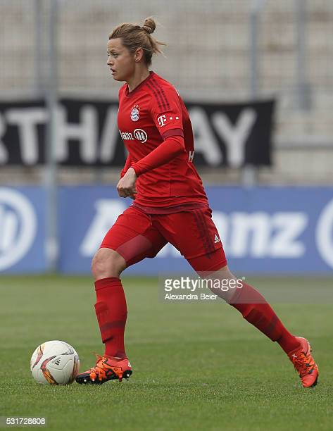 Nora Holstad Berge of Bayern Muenchen kicks the ball during the women Bundesliga match between FC Bayern Muenchen and 1899 Hoffenheim at Stadion an...