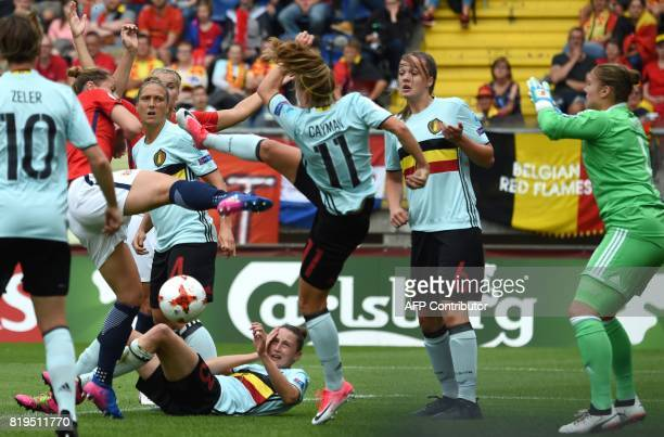 Nora Holstad Berge of Norway fights for the ball with Janice Cayman of Belgium during the UEFA Womens Euro 2017 football tournament match between...