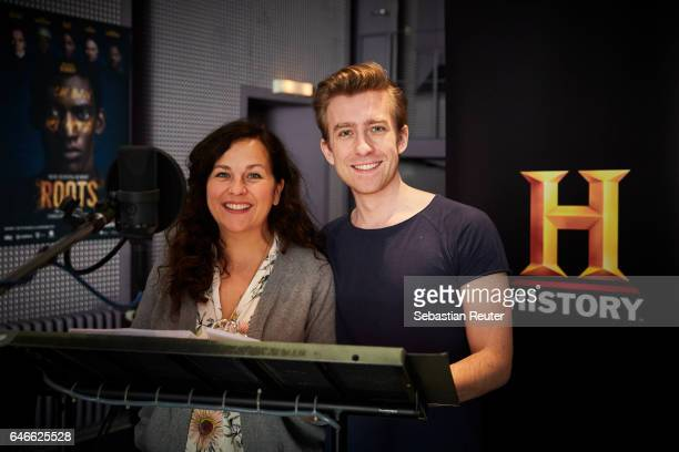 Nora Jokhosha and Jeremias Koschorz are seen at the dubbing studio for the new HISTORY drama series 'Roots' on February 14 2017 in Berlin Germany