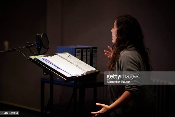 Nora Jokhosha is seen at the dubbing studio for the new HISTORY drama series 'Roots' on February 14 2017 in Berlin Germany