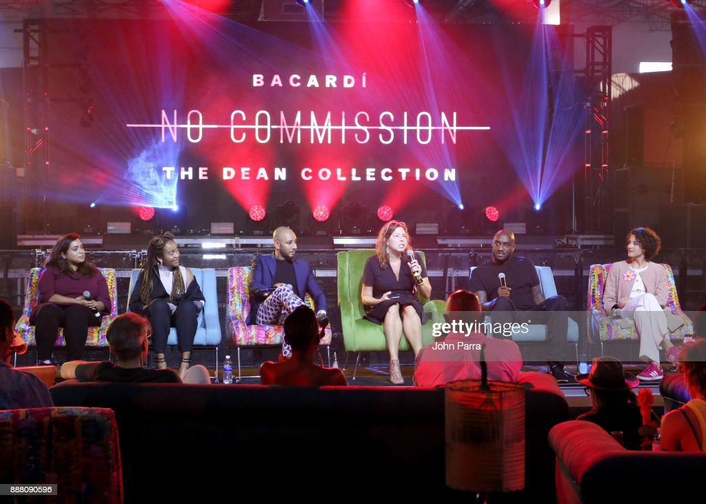 Nora Khan, Kimberly Drew, Swizz Beatz, Anne Pasternak, Virgil Abloh, and Carmen Aguilar y Wedge speak onstage as part of the 'Future of Art' panel discussion during the VIP Preview of BACARDI, Swizz Beatz And The Dean Collection Bring NO COMMISSION Back To Miami To Celebrate 'Island Might' at Soho Studios on December 7, 2017 in Miami, Florida.