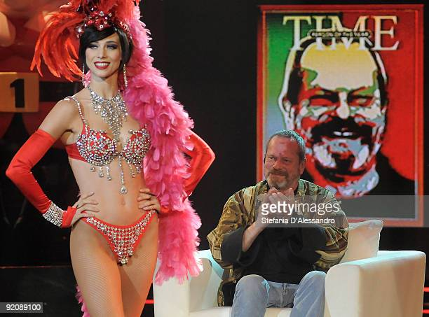 Nora Mogalle and director Terry Gilliam attend 'Chiambretti Night' Italian Tv Show held at Mediaset Studios on October 20 2009 in Milan Italy