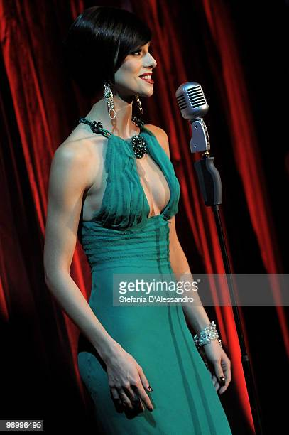 Nora Mogalle attends 'Chiambretti Night' Italian Tv Show held at Mediaset Studios on February 23 2010 in Milan Italy