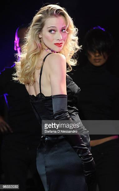 Nora Mogalle attends 'Chiambretti Night' Italian TV Show held at Mediaset Studios on April 8 2010 in Milan Italy