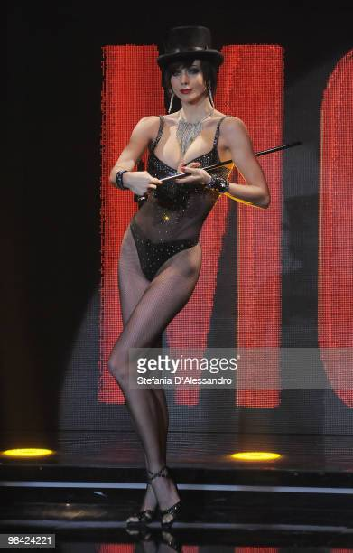 Nora Mogalle dances on 'Chiambretti Night' Italian Tv Show held at Mediaset Studios on February 4 2010 in Milan Italy