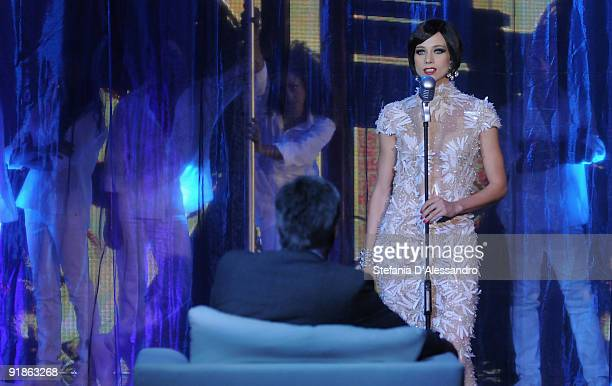 Nora Mogalle performs in front of the coach of the Chelsea Football Club Carlo Ancelotti during the Tv Show 'Chiambretti Night' on October 13 2009 in...
