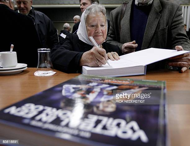 Nora Morales de Cortinas spokes woman of the �Mothers of the Plaza de Mayo� signs during the presentation of the book 'Voetbal in een vuile oorlog'...