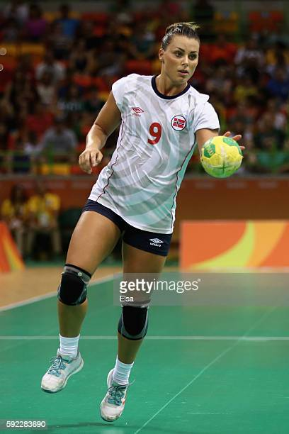 Nora Mork of Norway controls the ball during the Women's Handball Bronze medal match between Netherlands and Norway at Future Arena on Day 15 of the...