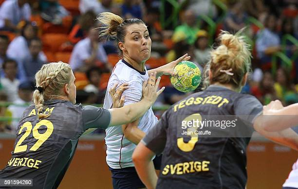 Nora Mork of Norway in action during the handball match between Norway and Sweden in the Women's Quarterfinal at Future Arena on August 16 2016 in...