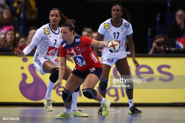 Nora Mork of Norway in action during the IHF Women's Handball World Championship final match between France and Norway at Barclaycard Arena on...