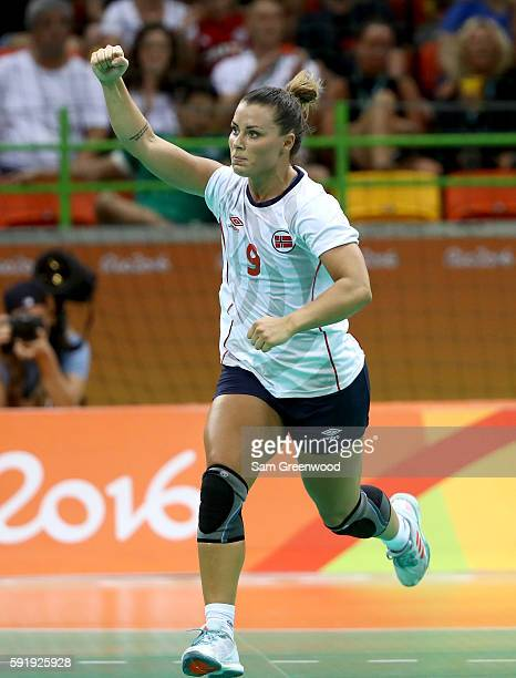 Nora Mork of Norway reacts to a goal during the Women's Handball Semifinal match against Russia at the Future Arena on Day 13 of the 2016 Rio Olympic...
