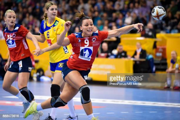 Nora Mork of Norway takes a shot on goal during IHF Women's Handball World Championship group B match between Norway and Sweden on December 08 2017...