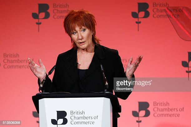 Nora Senior president of the British Chambers of Commerce gestures as she speaks during the 2016 BCC annual conference in London UK on Thursday March...