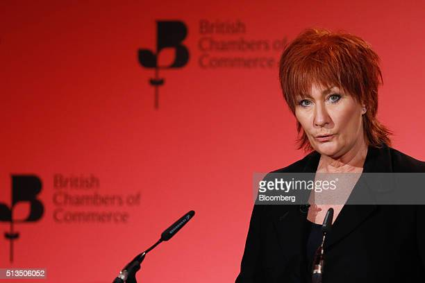 Nora Senior president of the British Chambers of Commerce speaks during the 2016 BCC annual conference in London UK on Thursday March 3 2016...