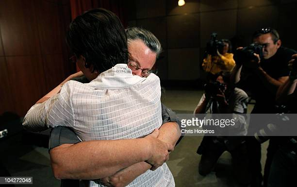 Nora Shourd hugs her daughter Sarah Shourd during a press conference after Sarah's release from an Iranian prison September 19 2010 in New York City...
