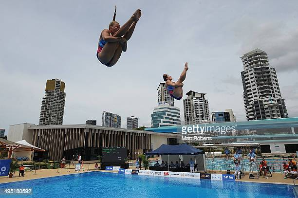Nora Subschinski and Tina Punzel of Germany compete in the Women's 3m Synchro Springboard Final during the FINA Diving Grand Prix on November 1 2015...