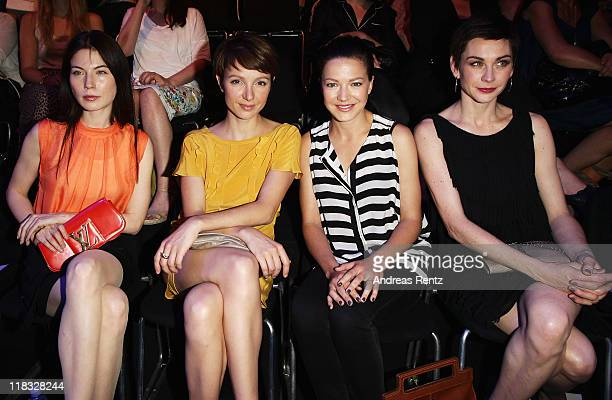 Nora von Waldstaetten Julia Koschitz Hannah Herzsprung and Christiane Paul sit in front row at the Strenesse Blue Show during MercedesBenz Fashion...