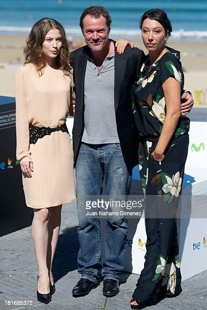 Nora von Waldstatten Sebastian Koch and Ursula Strauss attend 'Oktober/November' photocall during 61st San Sebastian Film Festival on September 23...