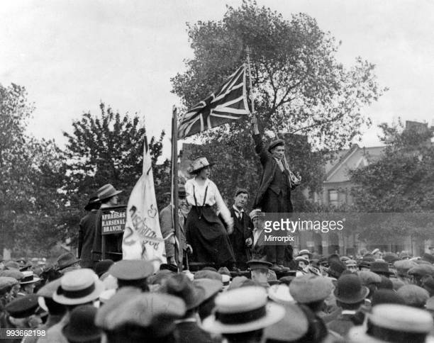 Norah Dacre Fox, General Secretary of the Women's Social and Political Union speaking in aid of the War Effort, London, Published Sunday Pictorial...
